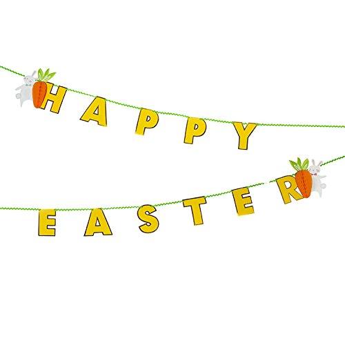 (Girlande Ostern Osterhase Hase Bunny Häschen Möhre Osterbrunch Dekoration Deko 3D Honeycomb Wabe Pom Poms)