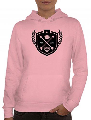 Abschluss Abitur Damen Kapuzenpullover mit Wappen Abi 2017 Motiv von ShirtStreet Rosa