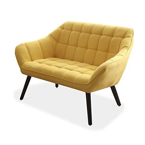 Adec - Olden, Sofá Olden de Dos plazas, sillón de Descanso 2 Personas, Acabado en Tejido Color Mostaza, Patas de Madera Color Negro, Medidas: 127 cm (Largo) x 75 cm (Fondo) x 77 cm (Alto)