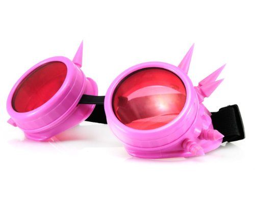 WELDING CYBER GOGGLES Schutzbrille Schweißen Goth cosplay STEAMPUNK COSPLAY GOTH ANTIQUE VICTORIAN WITH SPIKES Includes FREE set Lense Shades UV400 Protection Morefaz(TM) (Rosa Spikes)