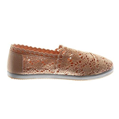 Angkorly Damen Schuhe Espadrilles - Slip-on - Häkel - Perforiert - Elastisch Flache Ferse 1 cm Rosa