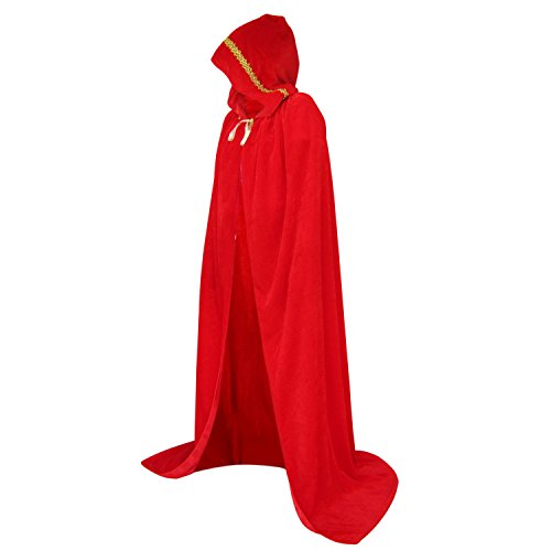 HowYouth Umhang mit Kapuze Lange Samt Cape Vampir Kostüm Halloween Erwachsener Unisex 150CM (Rot ()