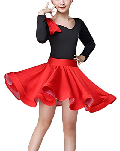 Kinder Latein Tanz Kleid Rock Mädchen Latin Rumba Salsa Tango Performance Kostüme Rot 1 130