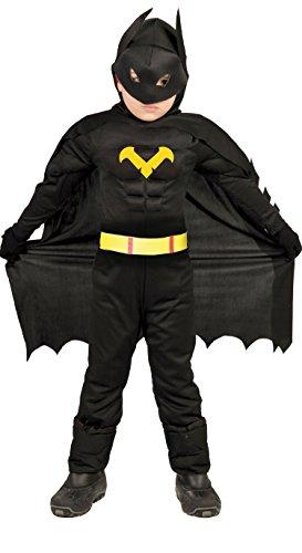 Kostüm Batman Jungen Für - Guirca Fledermaus Superheld - Kostüm für Kinder Karneval Fasching Held schwarz Gr 98-146, Größe:110/116