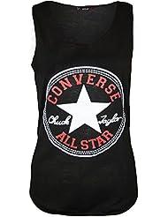 Neue Damen Frauen Mädchen Converse Star Print Lässige Weste Top T-Shirt Muscle Back Größe 36-42 (40-42 (m/l), zwart)