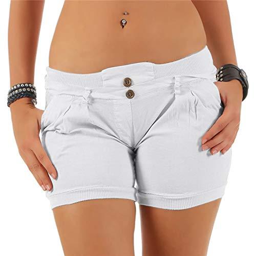 Riou Shorts Damen Caprihosen Sommer Stretch Große Größen mit Taschen Tooling Sport knöpfe Beiläufige Kurz Hose Freizeithose Günstig (S, Weiß)