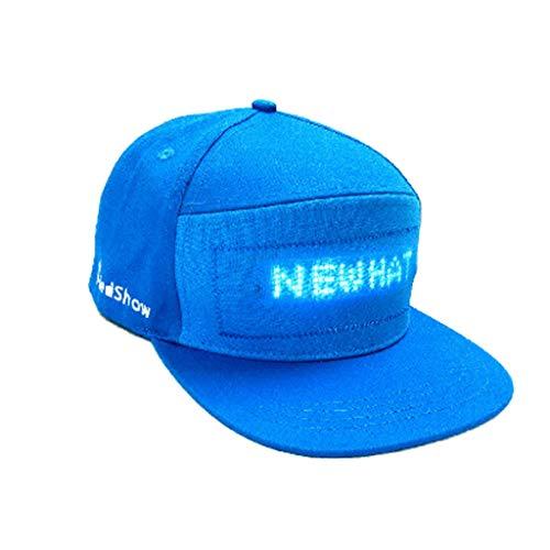 HCFKJ Mode Cap LED Cool Hat mit Bildschirm Licht wasserdichtes Smartphone gesteuert (BU)