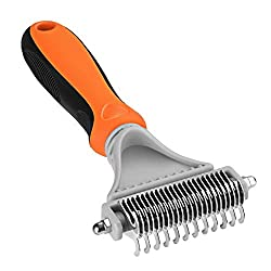 OMORC Dog Dematting Comb, Pet Grooming Brush Deshedding Tool 23+12 Double Sided Teeth Undercoat Rake, Dog or for Small, Medium, Large Dogs, Cats and Horses with Short or Long Hair