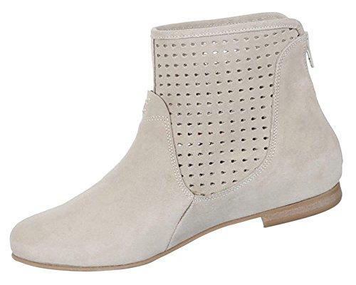 Damen Schuhe Stiefeletten Perforierte Leder Boots Beige