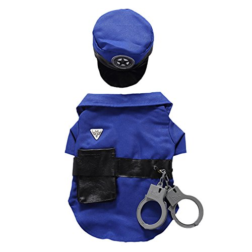 Kostüm Fashion Polizei E - SEAWOOD Fashion Cute Puppy Pet Mini Polizei Anzug Kostüm Hat Handschellen Rollenspiele Xmas Dog Apparel