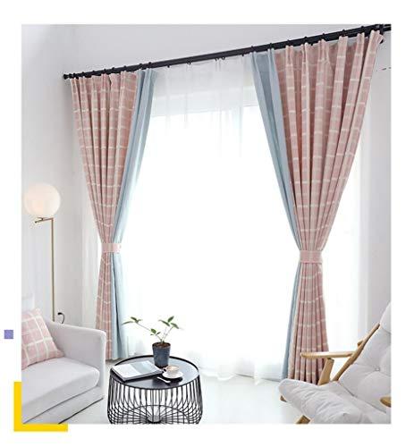 HAIYUANNAN Schattierung Vorhang Einfach Modern Stil Nähen Kariert Chenille Wohnzimmer Schlafzimmer Landung Eine Scheibe Anschließen Rosa Gitter -