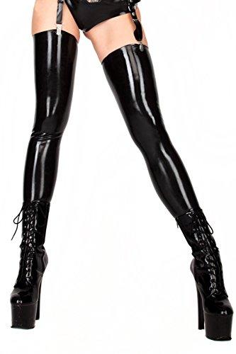 EXLATEX ECOSPLAY Damen Fetish Range Latex Gummi schwarz Oberschenkel hoch Strümpfe (Large, Red) (Oberschenkel Strümpfe Red Hohe)