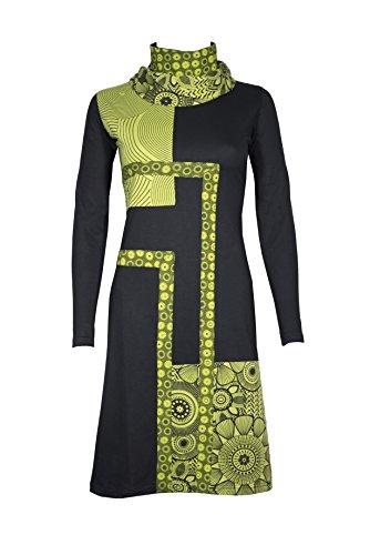 garderobe goa Filosophie Wunderschönes Freizeitkleid mit ausgefallenem Kragen und bunten Ethno Muster in Patchwork Design - Casual Chic - 100% Baumwolle - Nona (Lime) (L/XL)