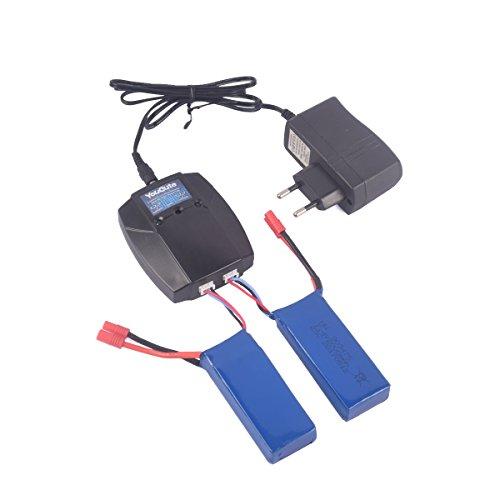 YouCute caricabatterie 1to2 e 2 pezzi batterie 7,4V 2000mAh per SYMA X8HC X8HG X8HW X8C X8G X8W RC Quadcopter ricambi accessori