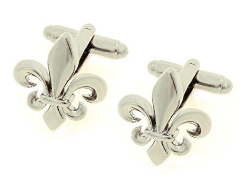 Unbekannt Lilien Manschettenknöpfe silbern glänzend + Geschenkbox