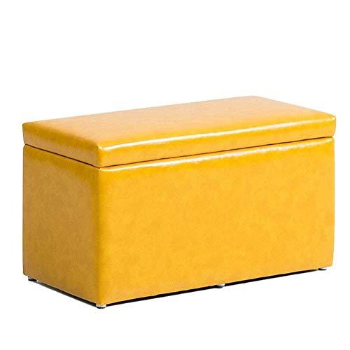 WANGXNStool Fußbank Massivholzrahmen PU-Leder-Spielzeug-Speicher-Box Portable Multi-Purpose-Schuh-Bank,Color4 -