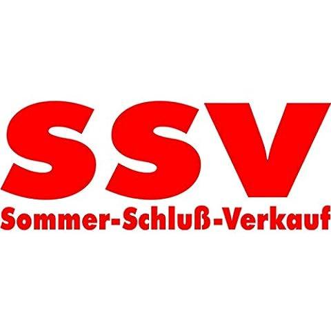 SSV Sommer-Schluß-Verkauf - Schaufensteraufkleber Variante 1 – Selbstklebende Folienbeschriftung - Aufkleber Schaufensterbeschriftung