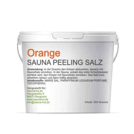 Premium Saunasalz (Salzöl) 500 Gramm Meersalz Peeling mit ÖL | Peeling Salz | Duschsalz | Sauna Salz Peeling | (Orange)