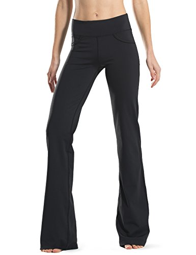 Safort Regular/Tall Bootcut Yoga Hose mit 71cm/76cm/81cm/86cm Schrittlänge, 4 Hosentaschen,Lange Bootleg-Hose, Flare-Hose,schwarz, XL