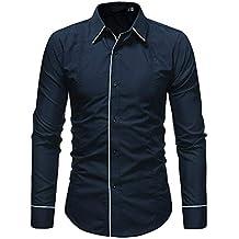 Polo, Camisetas, Blusa,BaZhaHei, Camiseta para Hombre de Hombre Camisa de Manga Larga Casual Masculina de Color sólido de Moda del Top de Manga Larga Casual ...
