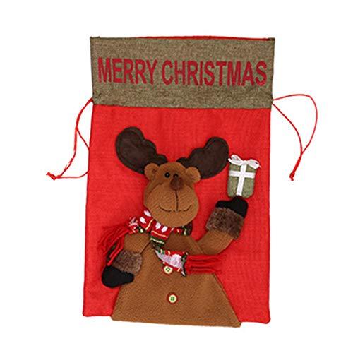 Mackur Kreative Weihnachtsbeutel Zugschnur-Taschen Geschenk Taschen Partei Dekorations 41 * 28CM 1 Stück (Rentier)