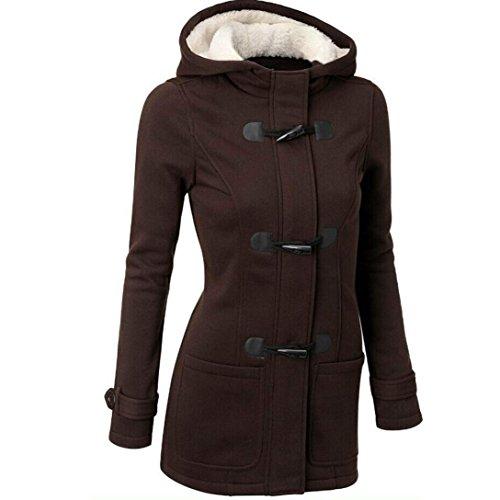 Frauen Wintermantel FORH Damen Mode Lange Hoodie Cardigan Jacke warm Baumwolle mit Kapuze Parkajacke Klassisch Kapuzenpullover Sweatshirt Trenchjacke Windbreaker Umhangjacke Outwear (S, Kaffee)