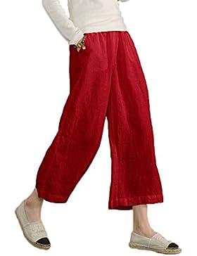 Pantalones Alisa.Sonya de lino, elásticos, rectos, sueltos, informales, para mujer, tallas grandes