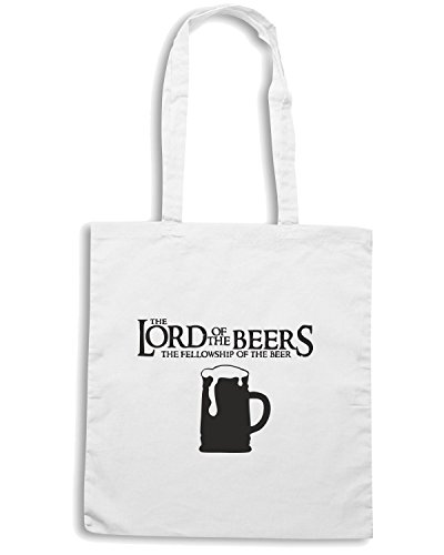 T-Shirtshock - Borsa Shopping BEER0083 Lord of the Beers - Fellowship of the Beer Bianco