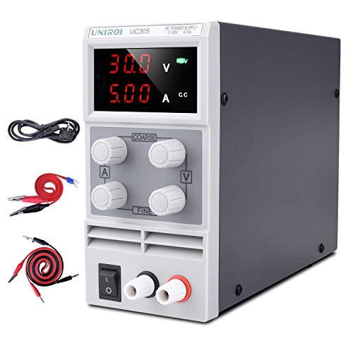UNIROI Labornetzgerät, 0-30V 0-5A DC Regelbar Netzgerät Stabilisiert Digitalanzeige Labornetzteil Netzteil Strommessgeräte UC305 (white)