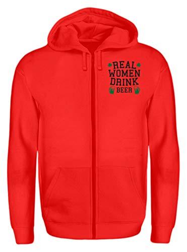 Real Women Drink Beer - St. Patrick´s Day - Shamrock - Geschenk - Überraschung - Zip-Hoodie -S-Rubinrot Irish Womens Zip Hoodie