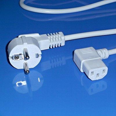 """""""BestPlug"""" 2 Meter Strom-Kabel Netz-Kabel für Kaltgeräte / Schutzkontakt Stecker männlich 90° abgewinkelt auf C13 Buchse Kupplung weiblich 90° abgewinkelt / Weiss"""