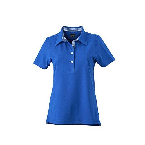 JAMES & NICHOLSON -  Polo  - Basic - Con bottoni  - Maniche corte  - Donna bleu royal (inserts royal/blanc)