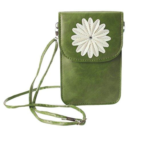 Tonsee® Tournesol Sac tactile petit à écran multicolore Packet sac à main Porte-monnaie (Rouge clair) Vert