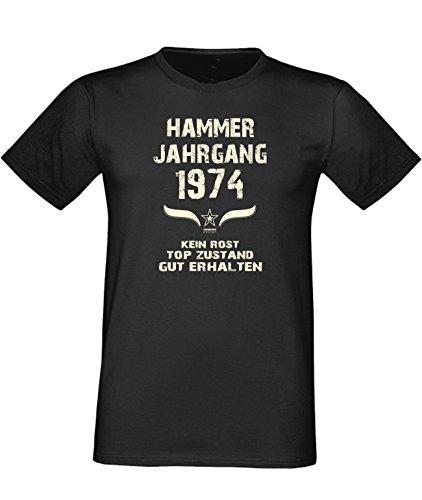 Geburtstags Fun T-Shirt Jubiläums-Geschenk zum 43. Geburtstag Hammer Jahrgang 1974 Farbe: schwarz blau rot grün braun auch in Übergrößen 3XL, 4XL, 5XL schwarz-01