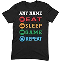 Gaming T Shirt for Men with Name - Eat Sleep Game Repeat Gamer TShirt Design