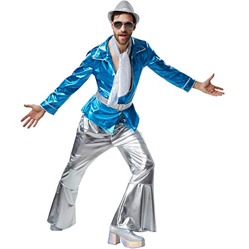 Herrenkostüm Disco Master, Schillerndes Disco-Outfit aus Glanzstoff mit Gürtel und Halstuch (L | Nr. 302399) ()