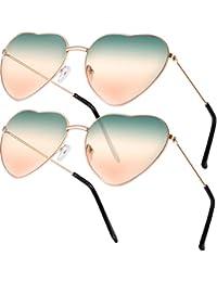 2 Paare Hippy Brille Herz Geformt Sonnenbrille for Hippie Verrücktes Kleid Zubehörteil, Rose Gold Rahmen