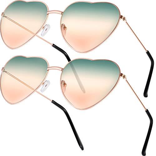 2 Paare Hippy Brille Herz Geformt Sonnenbrille for Hippie Verrücktes Kleid Zubehörteil, Rose Gold Rahmen (Gradient Grün und Orange (Paar Kostüm Frauen)