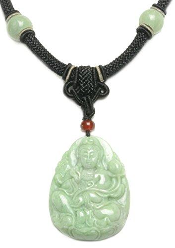 Elegante Mercy Buddha Jade-Anhänger Amulett-Halskette, handgemachte Schwarz Jade Dekoriert Cord 38-60 Cm - Fortune-Jade-Schmuck