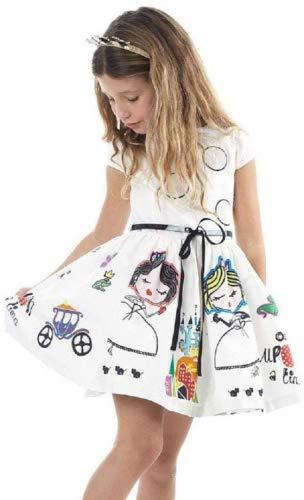 squarex Mädchen Kleid, Mädchen Kleidung Cute Weiß Cartoon Kleid für das Mädchen Prinzessin Kleid, Kinder, weiß, 6-7Jahre