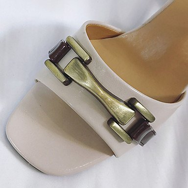 LvYuan Da donna Sandali PU (Poliuretano) Estate Footing Fibbia Quadrato Beige Marrone scuro 2,5 - 4,5 cm beige