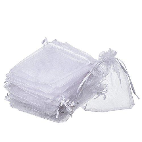 Sungpunet Geschenkbeutel aus Organza, Weiß, 100 Stück