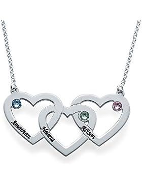 Verflochtene Herzkette mit Geburtssteinen - Personalisiert und graviert mit Ihre eigenen 3 Namen und Geburtssteinen