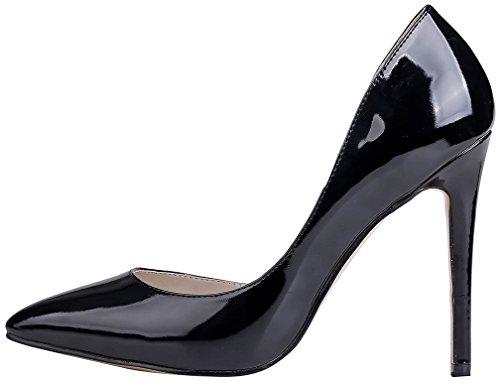 Calaier Femme Cawarm 11CM Aiguille Glisser Sur Escarpins Chaussures Noir