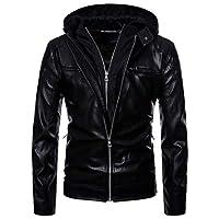 AOWOFS Casual Faux lederen jas voor heren met capuchon voor wintermotorjack Fashion Black Coat