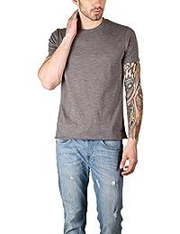 The Glu Affair Men's Raw Edge Cotton Round Neck Grey T-shirt