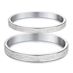 SP-Acier Inoxydable-Bracelet jonc tressé pour Couple Forever Love 2 Pc
