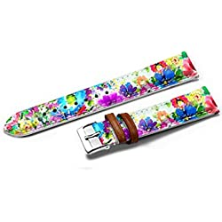 Extra Long Watch Strap Band Black Leather Stainless Steel Buckle 14mm - Elegant Color Flowers