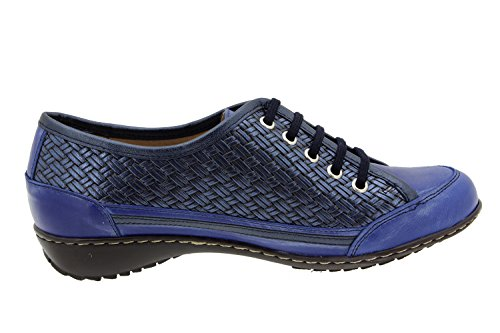 Chaussure femme confort en cuir Piesanto 4751 basket semelle amovible confortables amples Marino