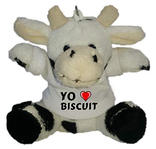 Shopzeus Vaca de Peluche (Llavero) con Amo Biscuit en la Camiseta (Nombre de Pila/Apellido/Apodo)